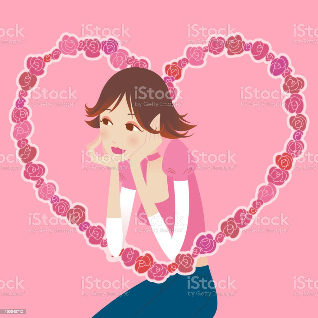 Girl in love royalty-free stock vector art