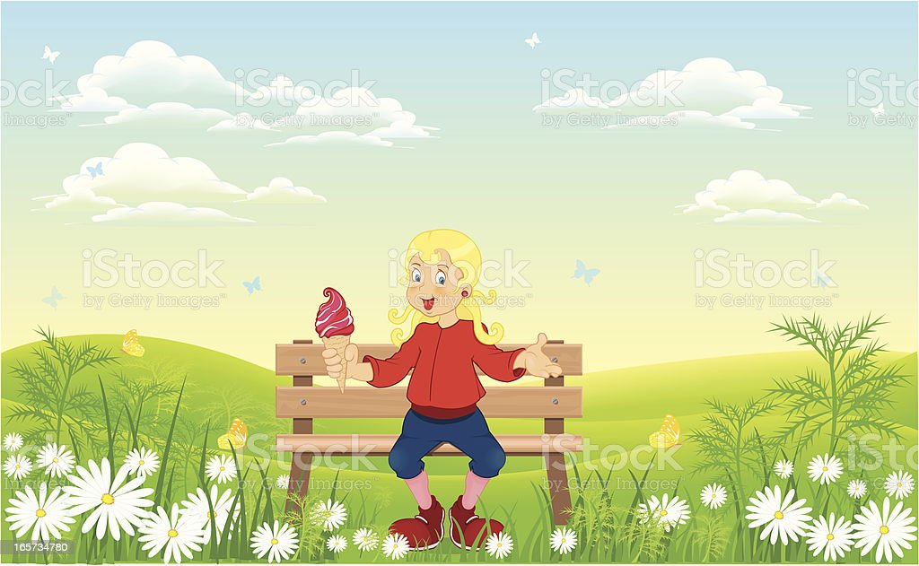 girl in nature royalty-free stock vector art