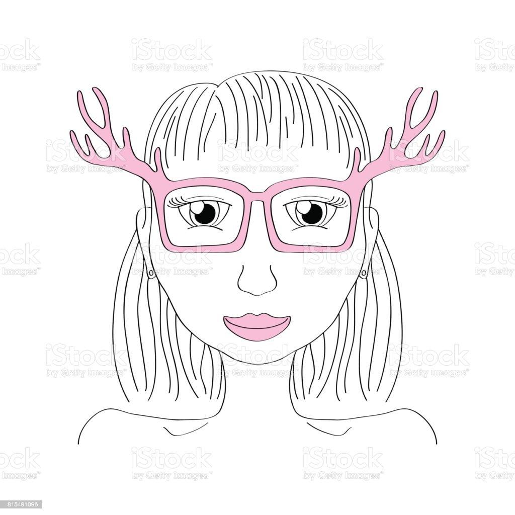 Girl in pink deer horn glasses vector illustration. Nerd girl portrait. vector art illustration