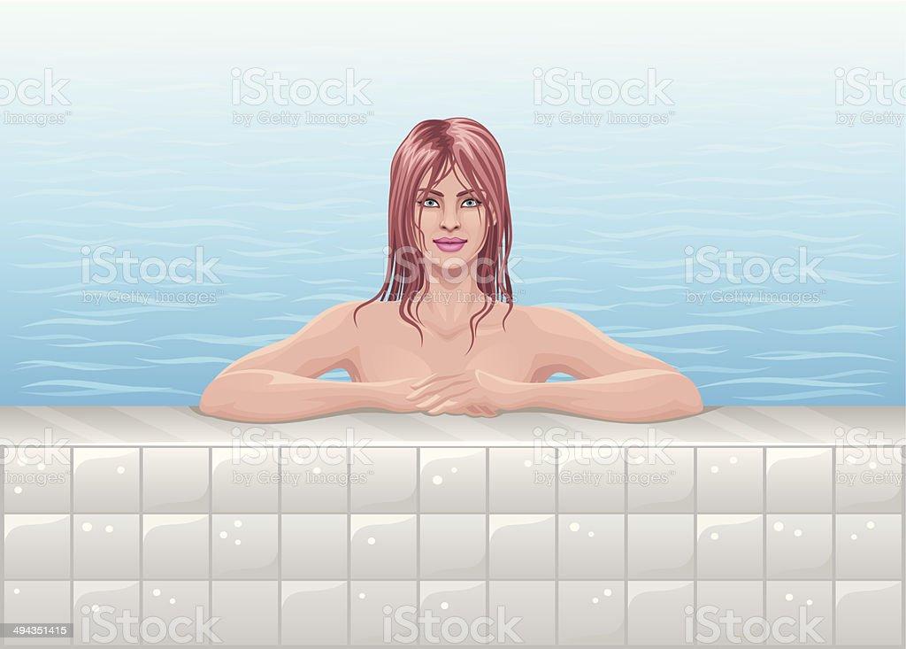 Girl in pool vector art illustration