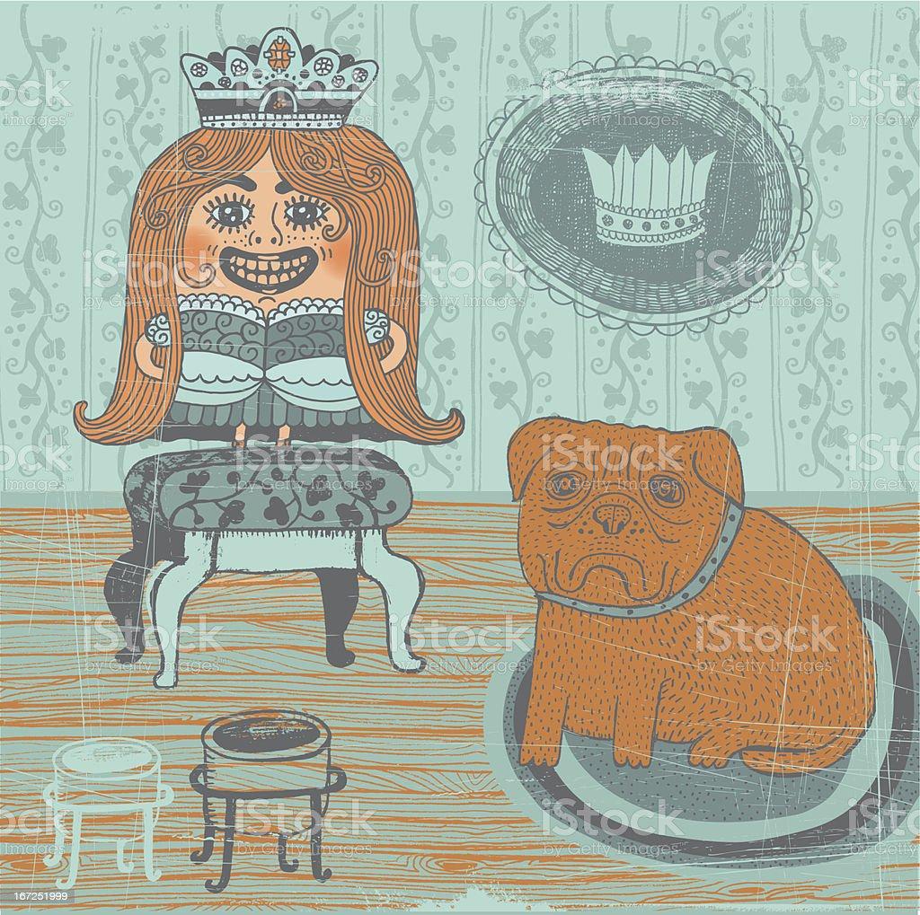 Girl in princess fancy dress with sad looking bullmastiff indoors vector art illustration