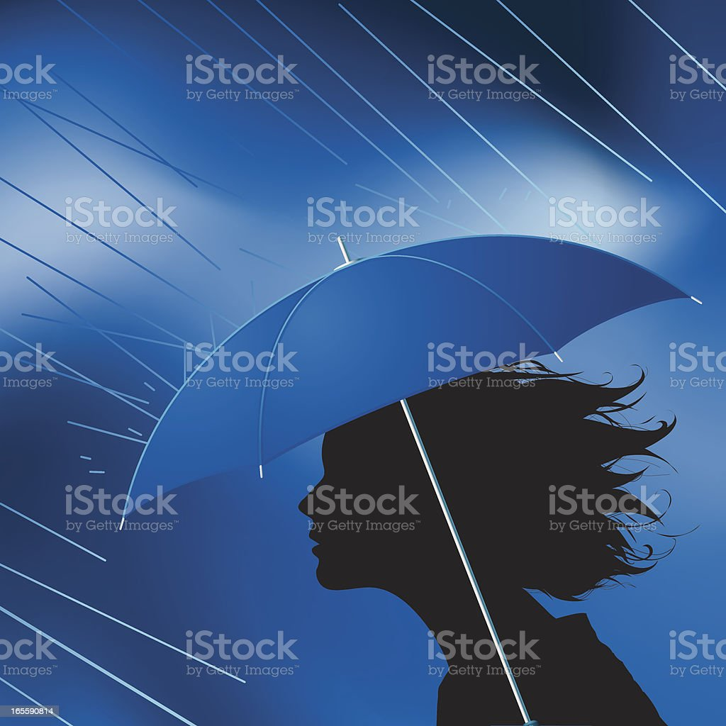 Girl in rain royalty-free stock vector art