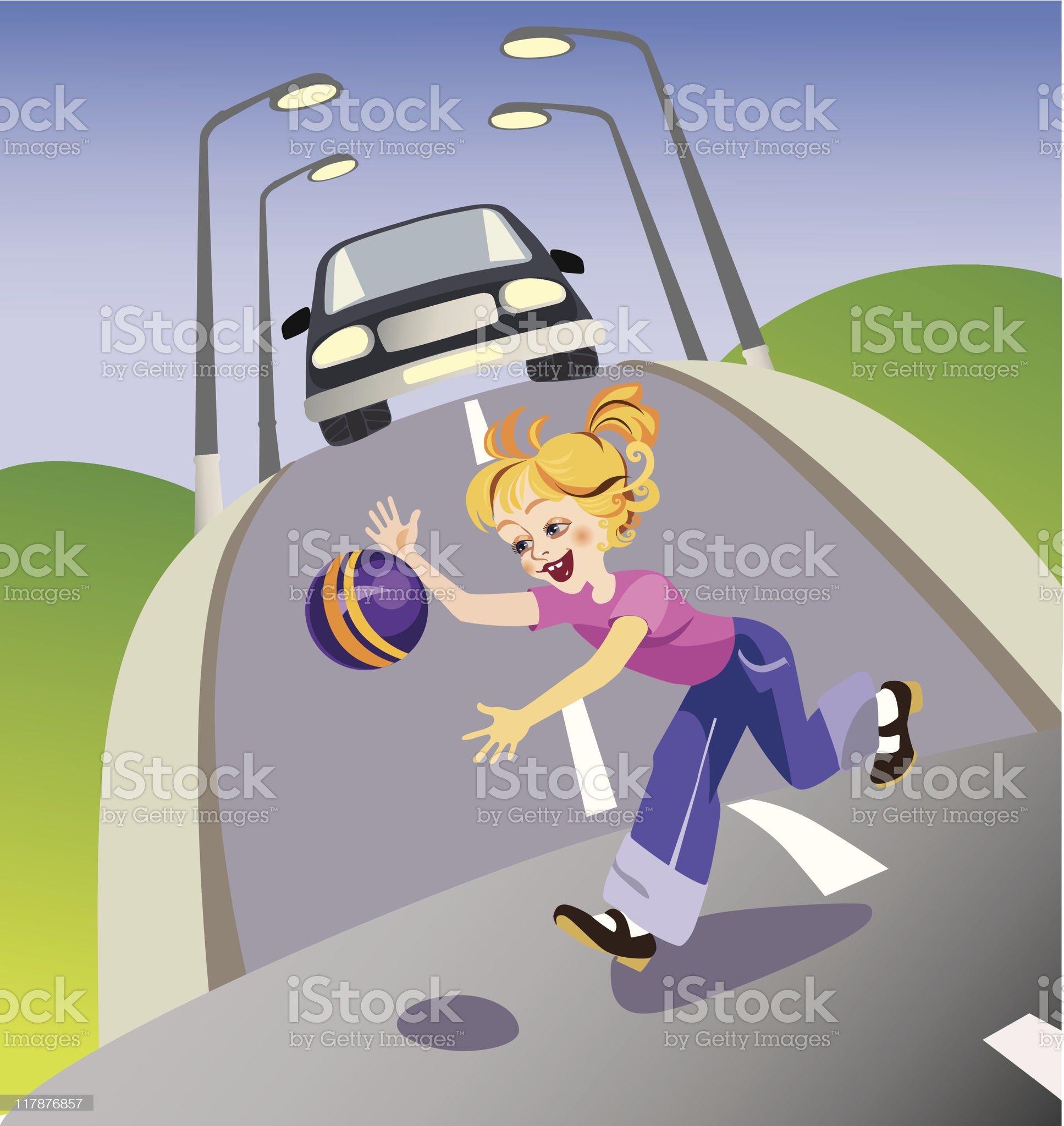 girl in road royalty-free stock vector art