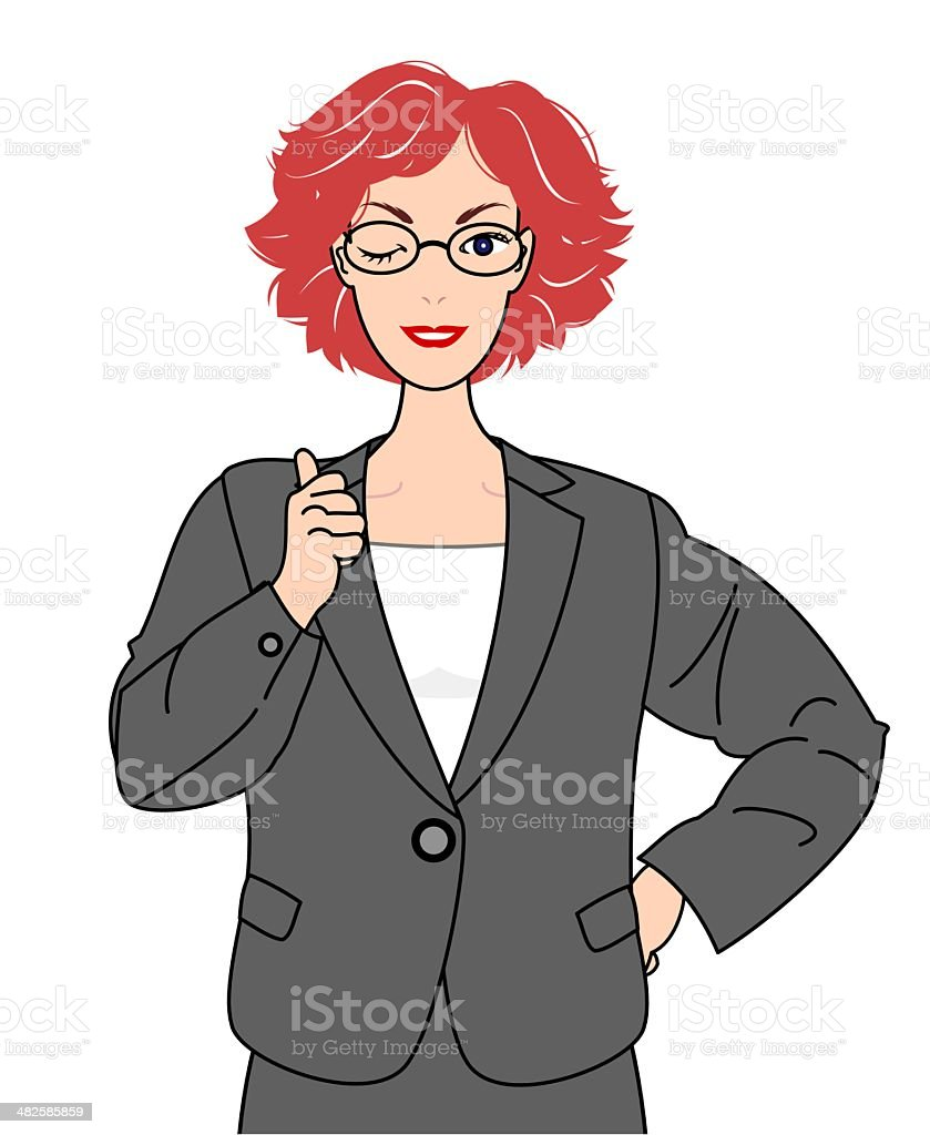 girl in suits thumbing up royalty-free stock vector art