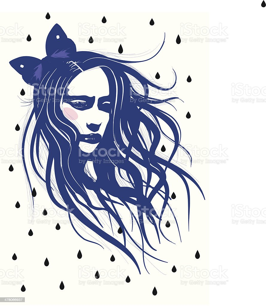 Girl in the rain with waving hair - Illustration vector art illustration