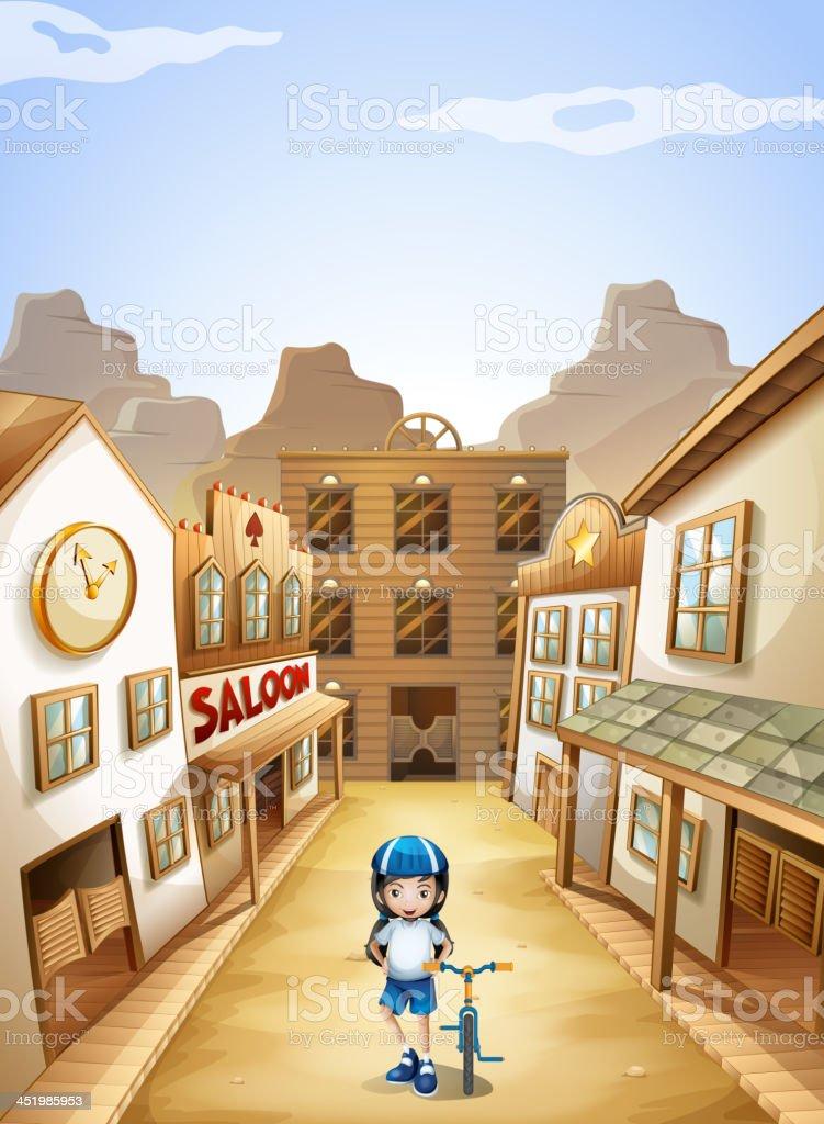 girl in the town vector art illustration