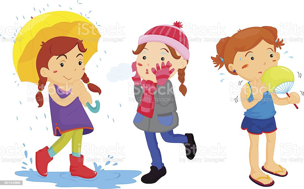 girl in the weather royalty-free stock vector art