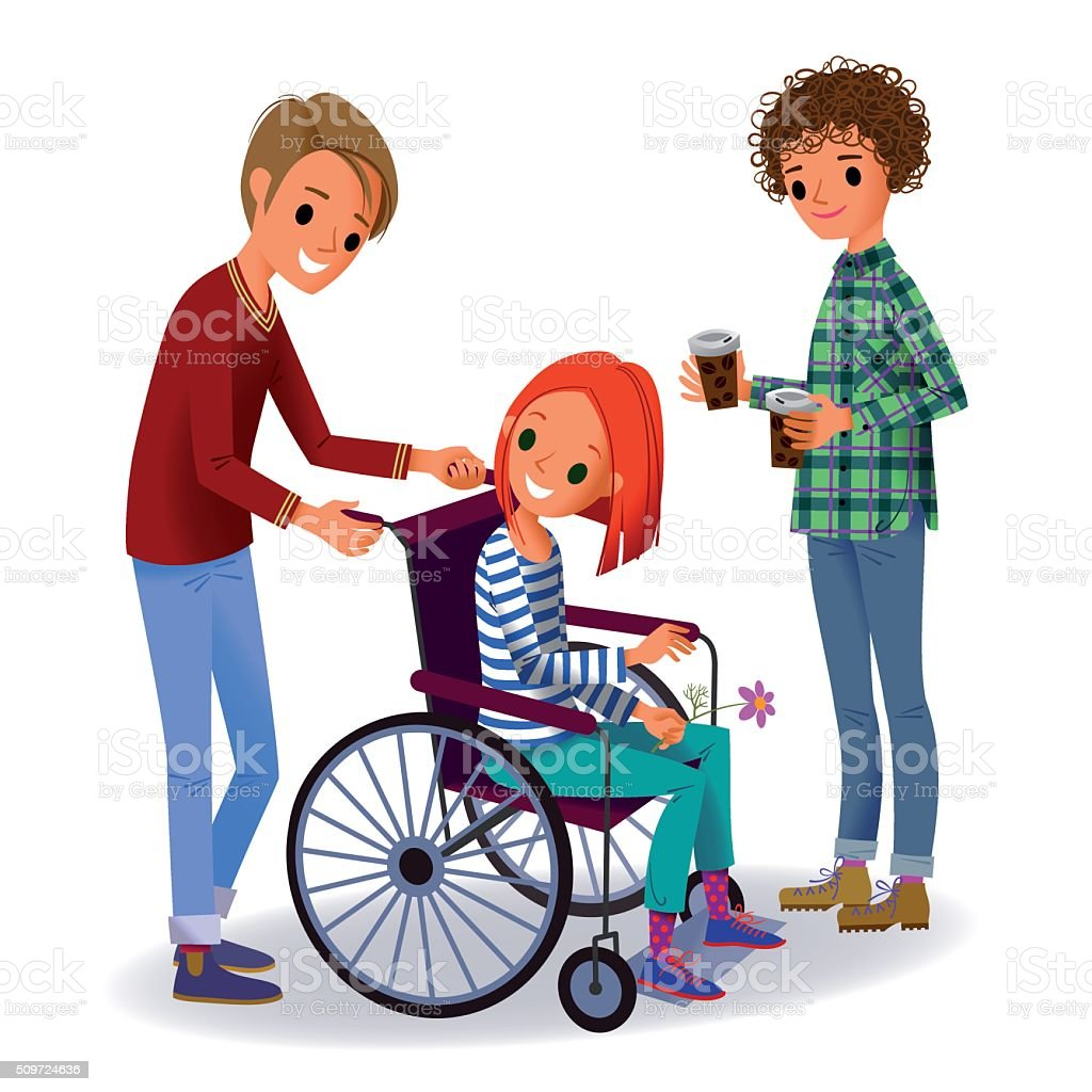 Girl in the Wheelchair and Two Volunteers. vector art illustration