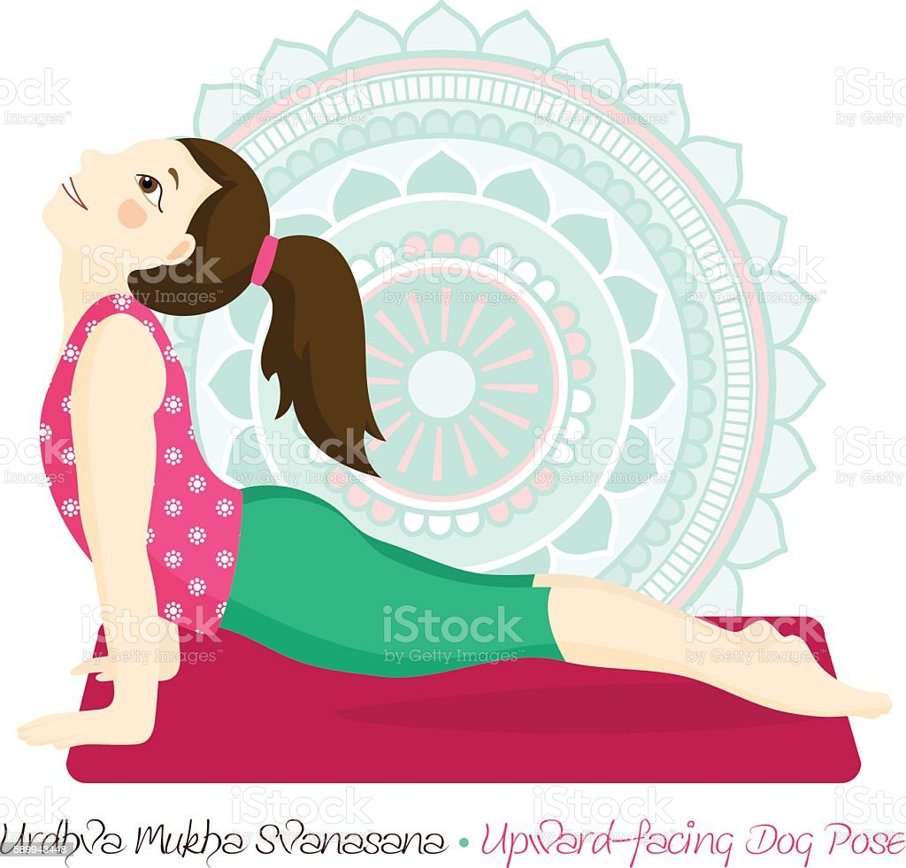 girl in urdhva mukha svanasana with mandala background vector art illustration