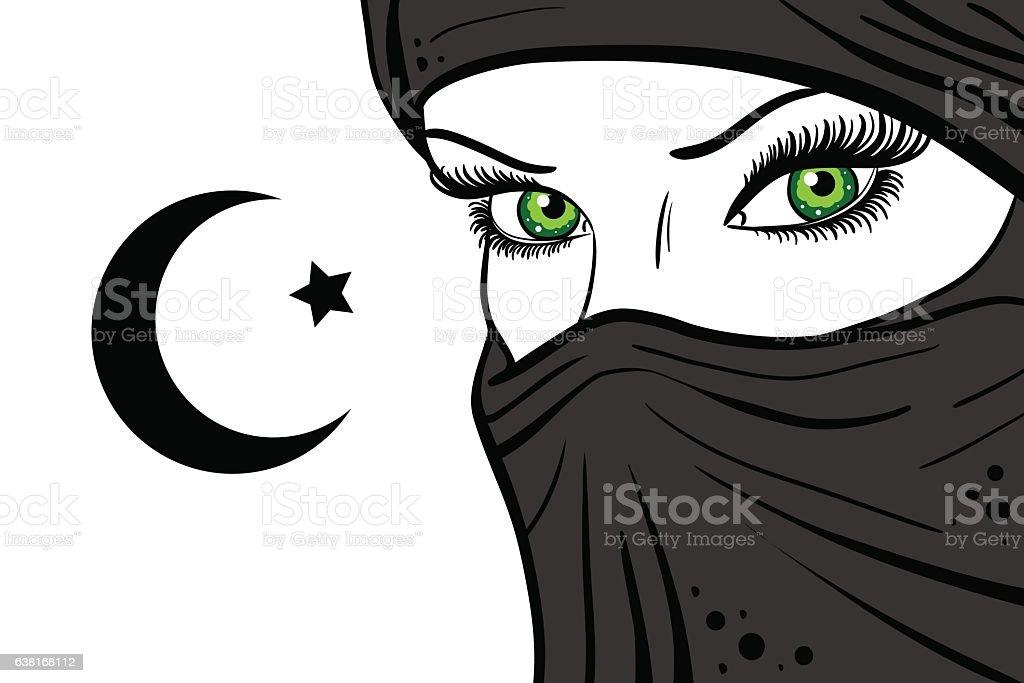 girl in veil on a white background vector art illustration