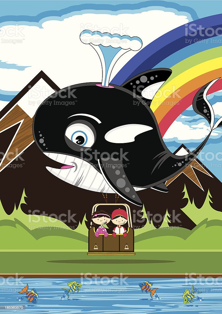 Girl in Whale Shaped Hot Air Balloon royalty-free stock vector art
