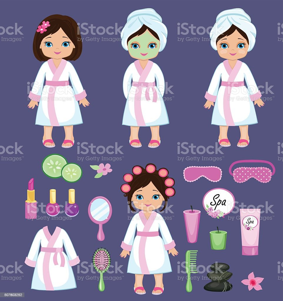 Girl in white bathrobe takes spa treatments. vector art illustration