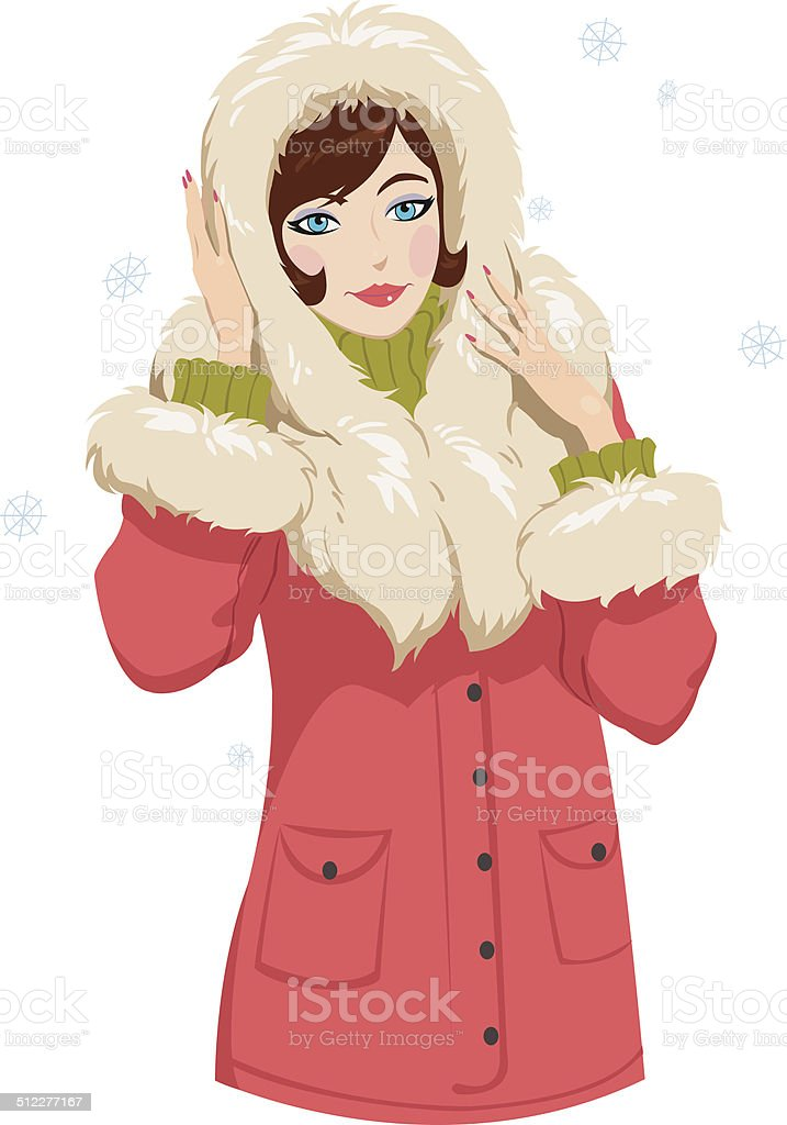 girl in winter clothes royalty-free stock vector art
