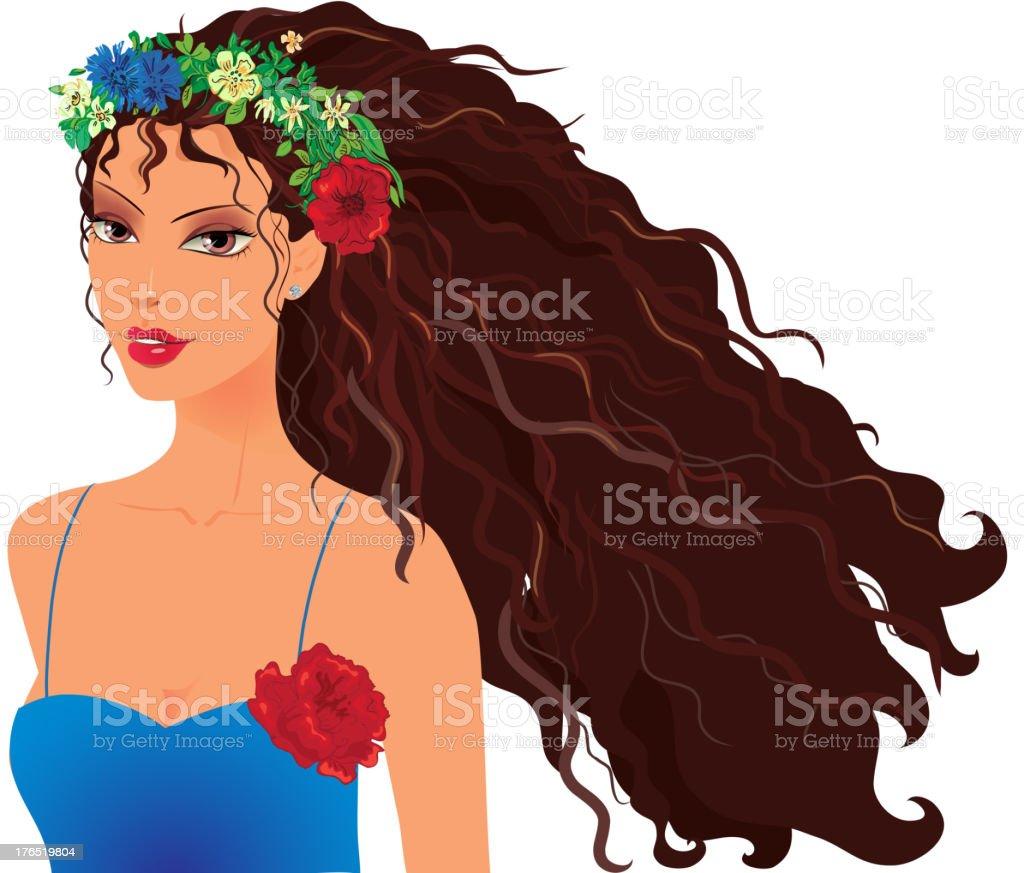 Girl in wreath royalty-free stock vector art