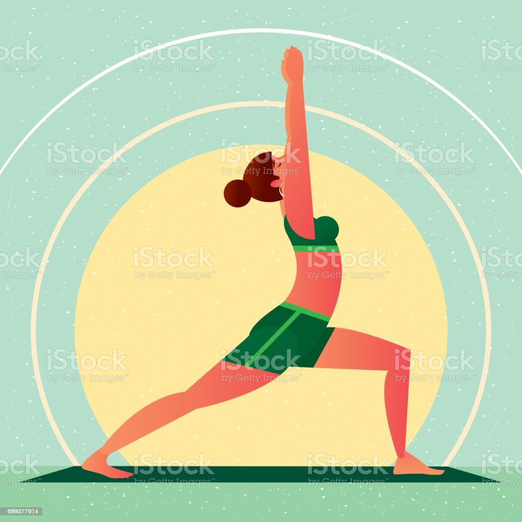 Girl in Yoga Warrior Pose or Virabhadrasana vector art illustration