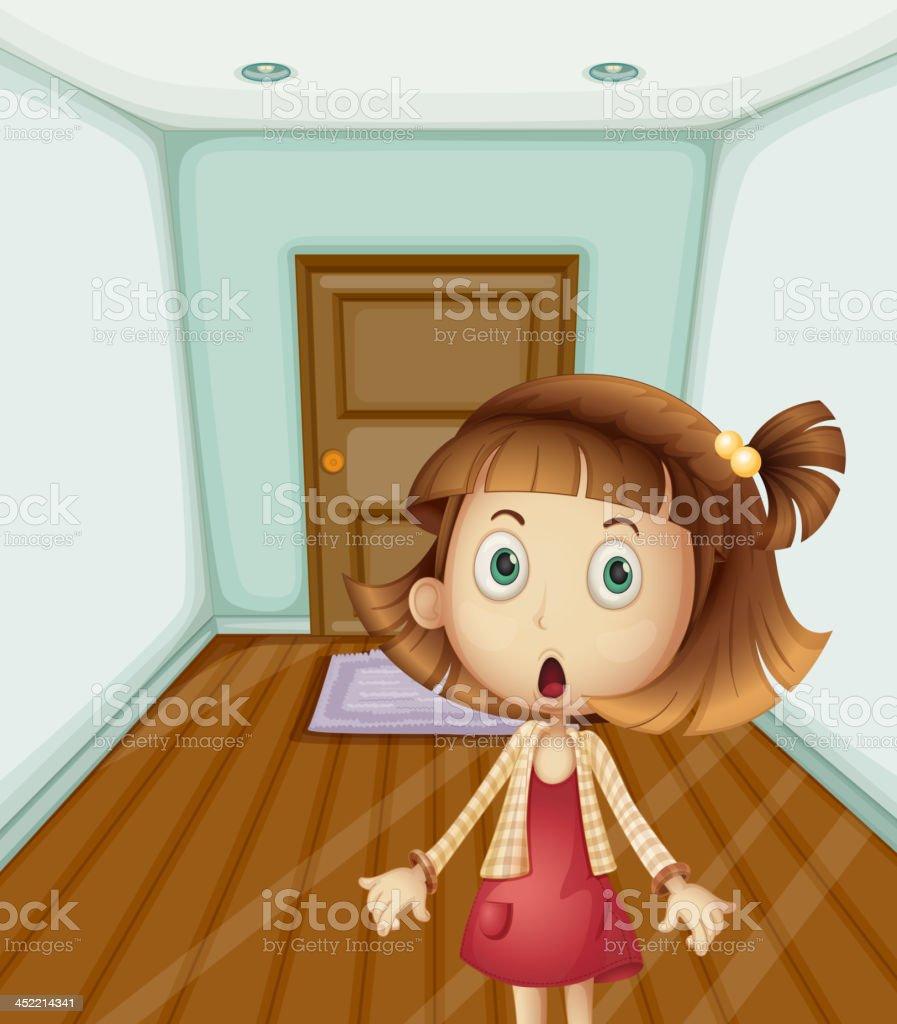 Girl inside a house royalty-free stock vector art