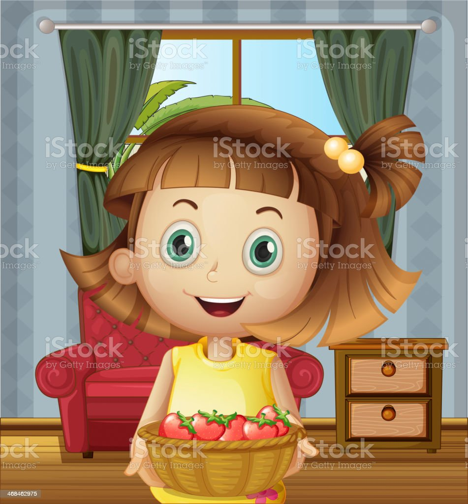 girl inside the house holding a basket of strawberries royalty-free stock vector art