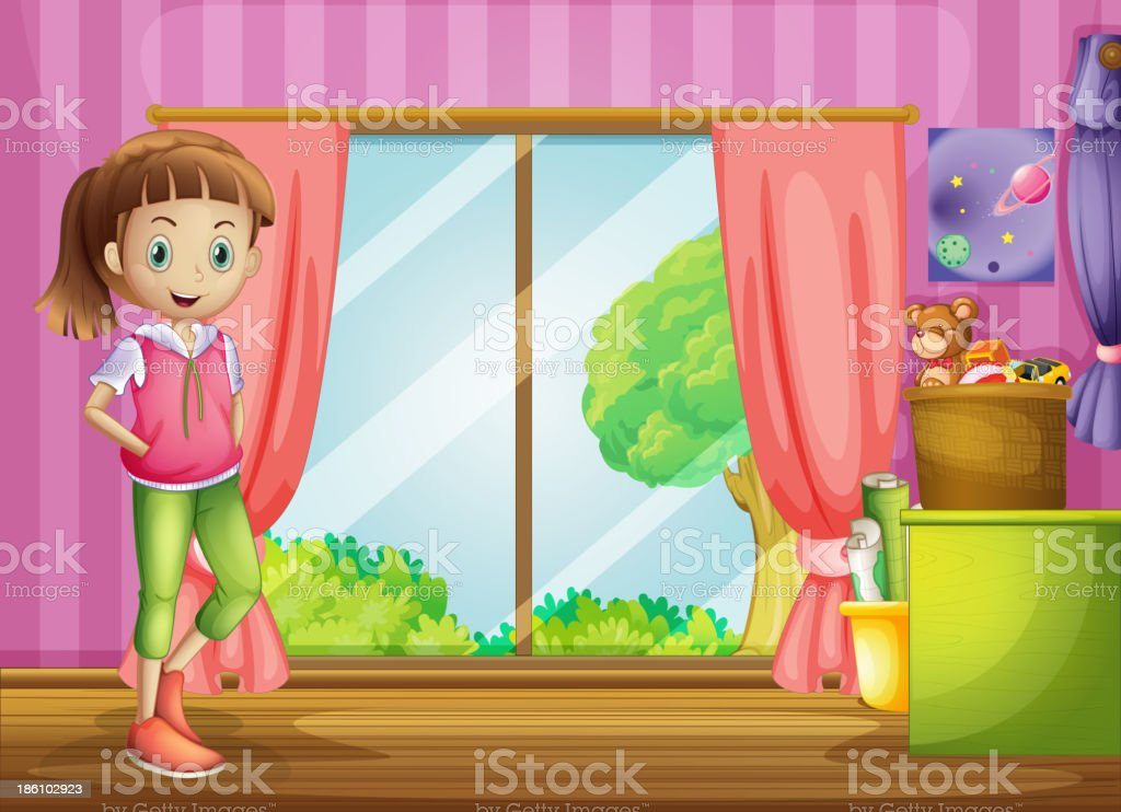 girl inside the house with her toys royalty-free stock vector art