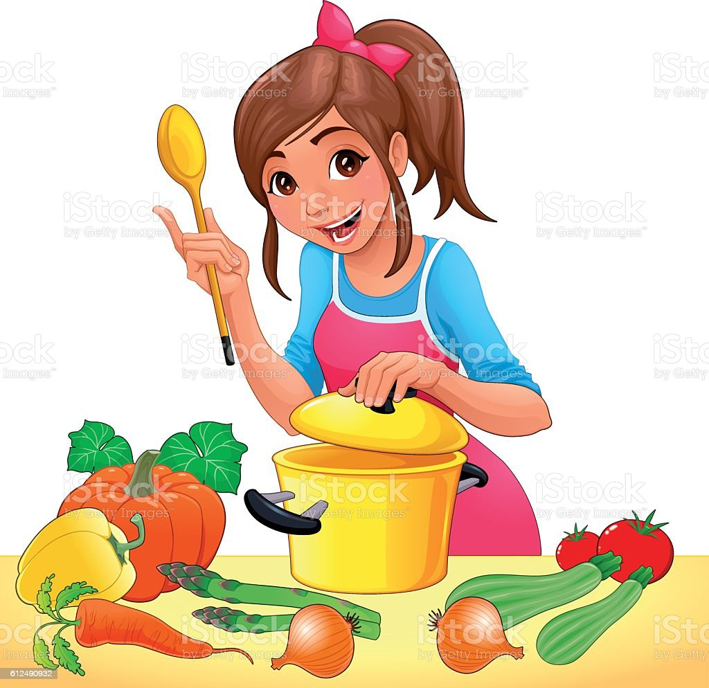 Girl is cooking with several vegetables vector art illustration