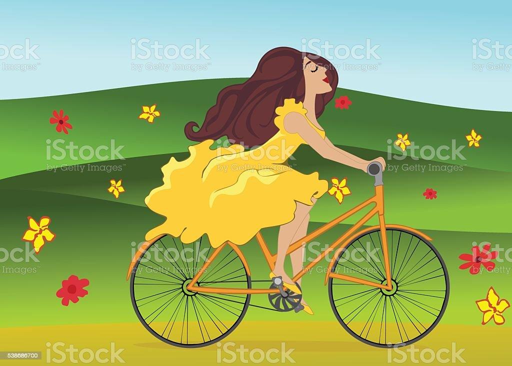 Girl is riding bike on flowering spring field vector art illustration