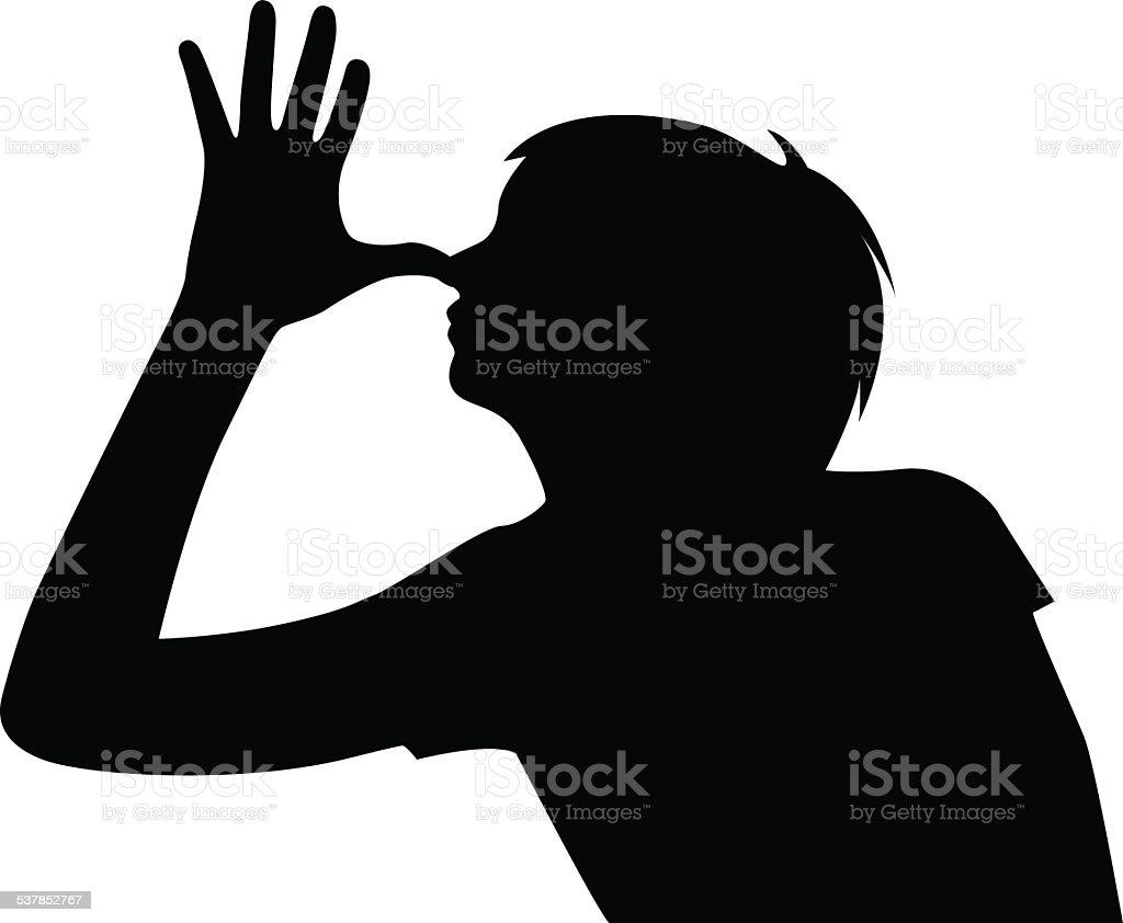 girl is teasing silhouette vector vector art illustration