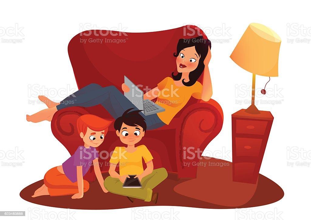 girl is watching online movie. vector cartoon illustration isolated on vector art illustration