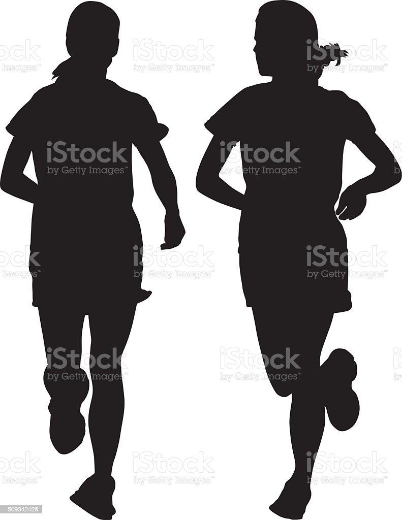 Girl Jogging Silhouettes vector art illustration