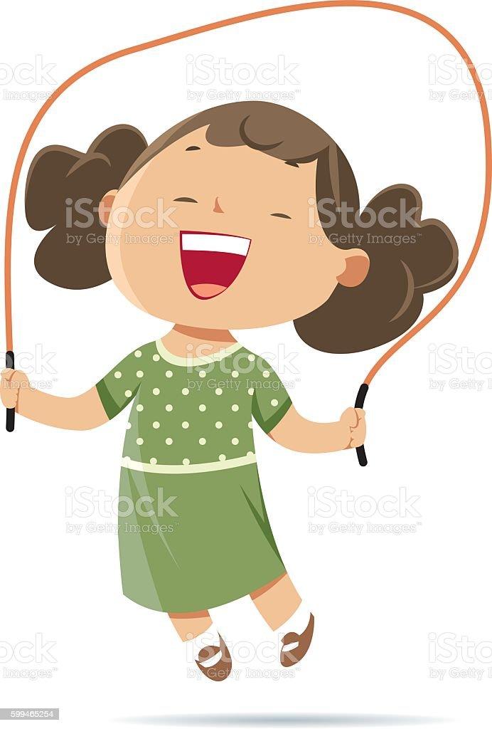 Girl jumping rope vector art illustration