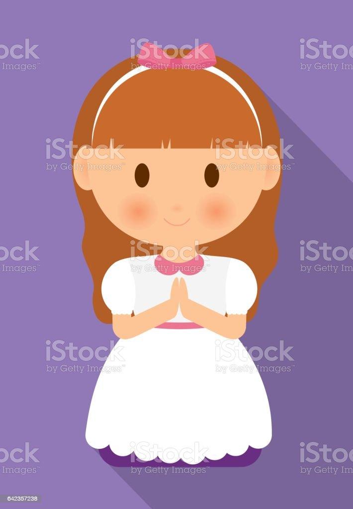 girl kid cartoon white dress icon. Vector graphic vector art illustration