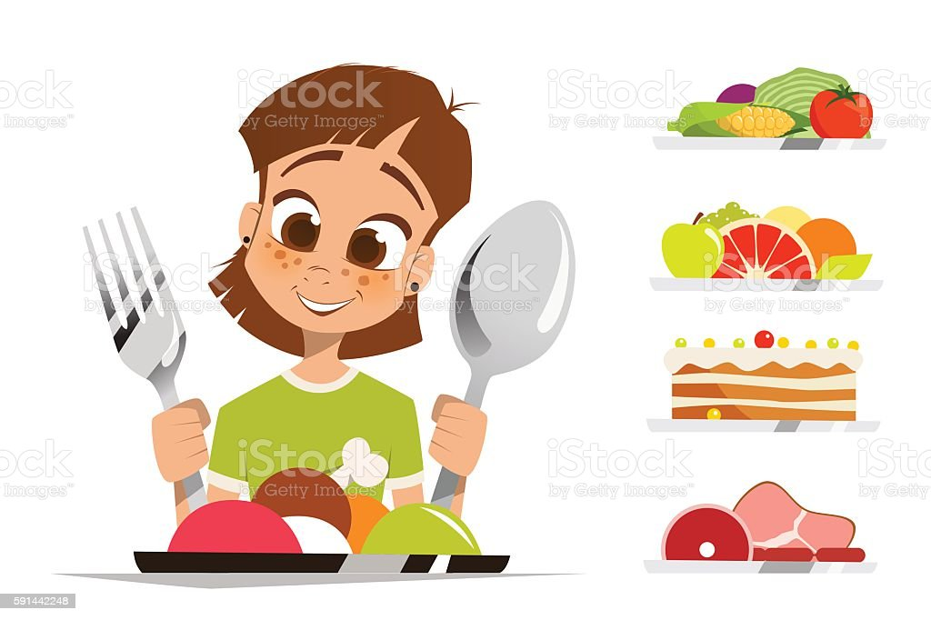 Girl kid child holding spoon and fork eating meal dish vector art illustration