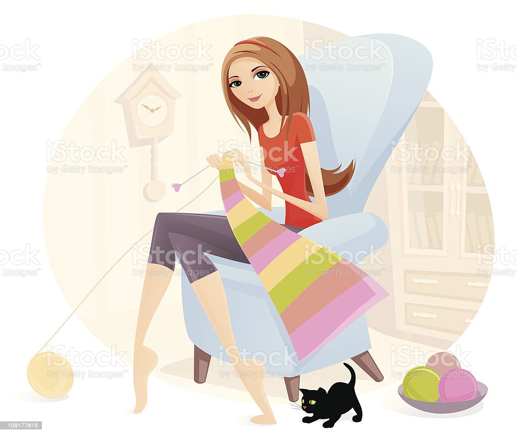 girl knitting vector art illustration