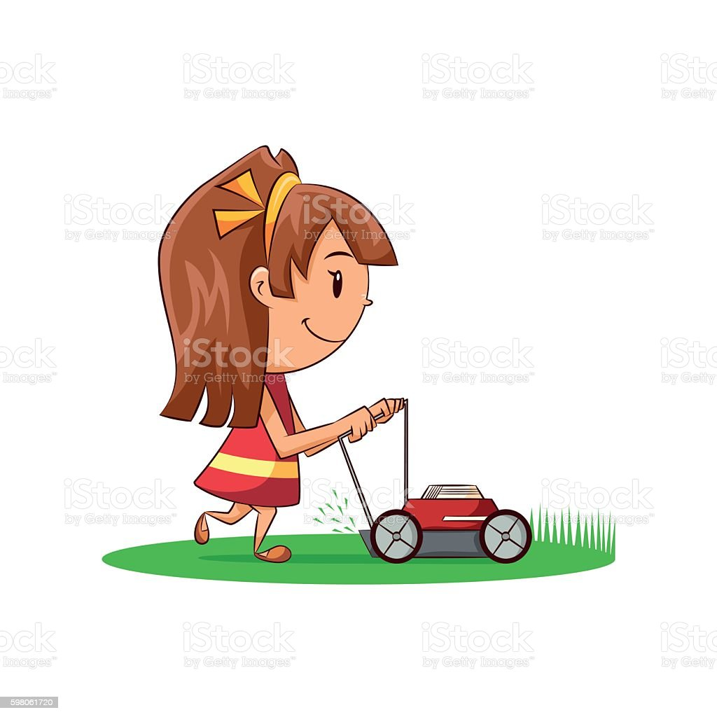 Girl lawn mower vector art illustration