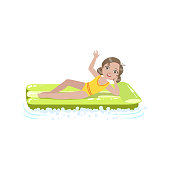 Girl Laying On The Water  Air Bed