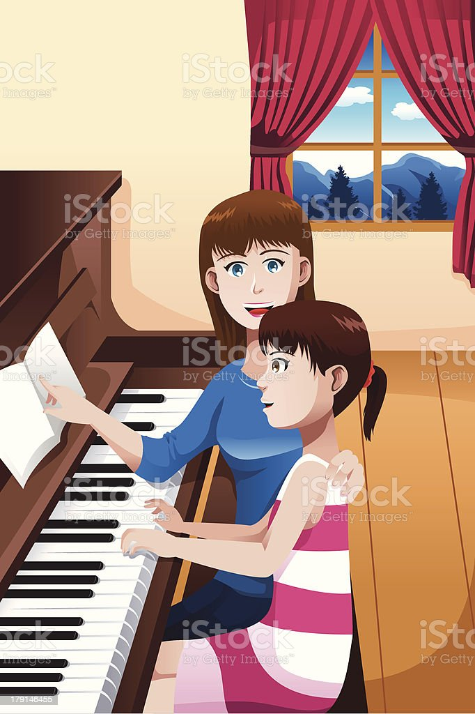 Girl learning to play piano royalty-free stock vector art