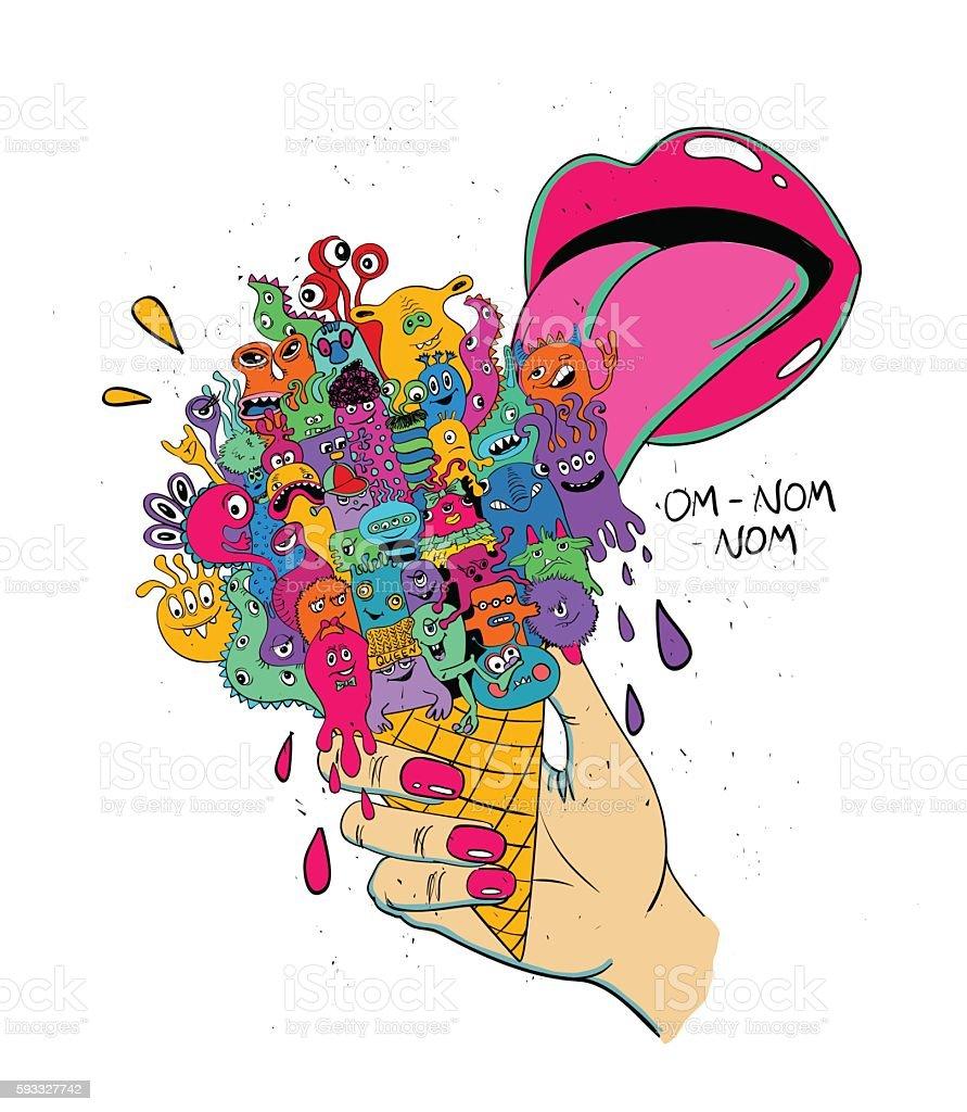 Girl licking Ice Cream Full Of Funny Monsters. vector art illustration