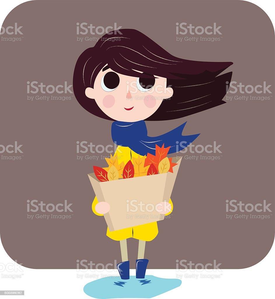 girl  likes autumn vector art illustration