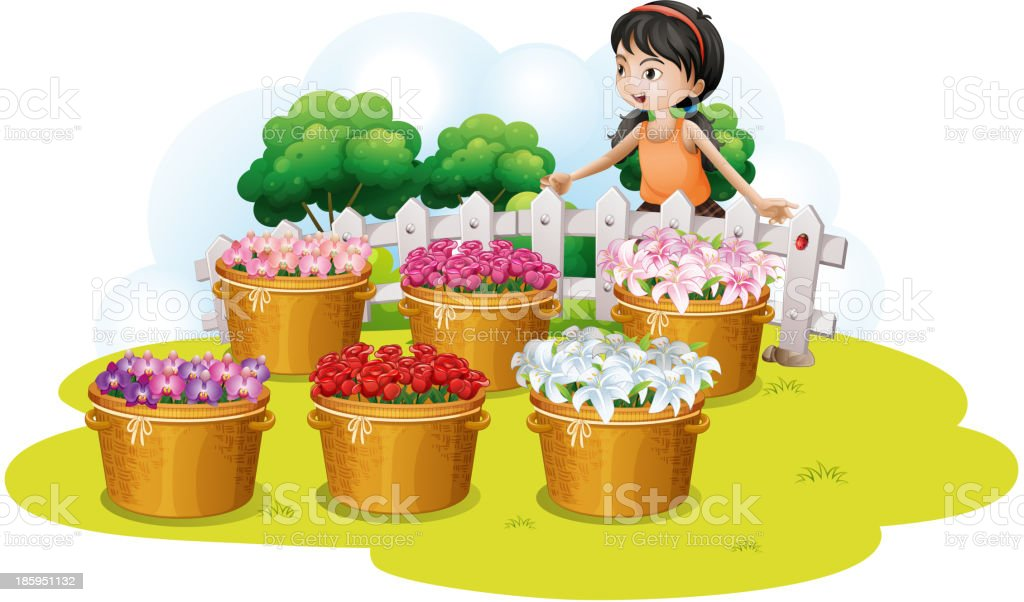 girl looking at the flowers in basket royalty-free stock vector art