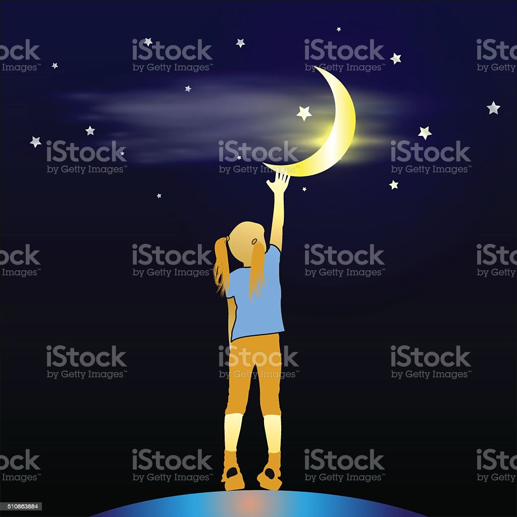 Girl Looking Up at the Moon vector art illustration