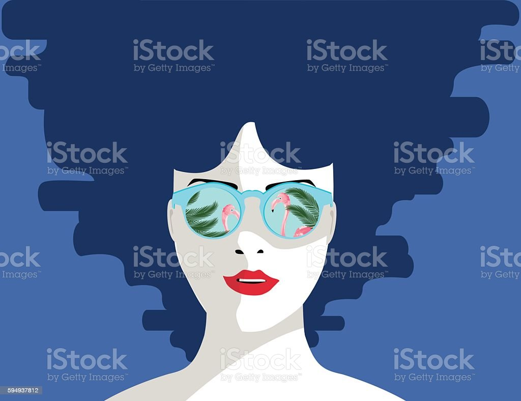 Girl lying in the water vector illustration. royalty-free 일러스트