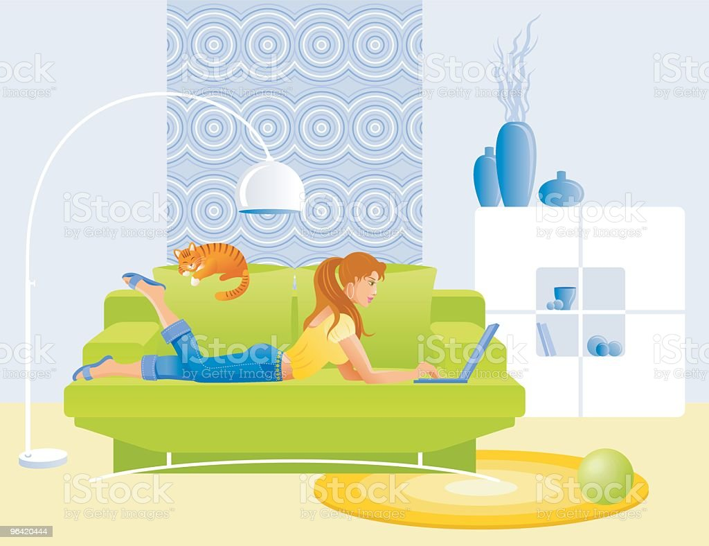 Girl, lying on sofa with notebook vector art illustration
