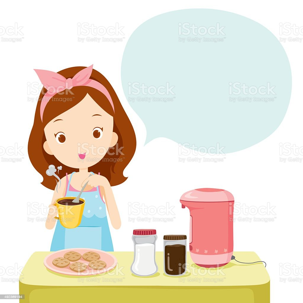Girl Making Coffee With Talk Bubble vector art illustration