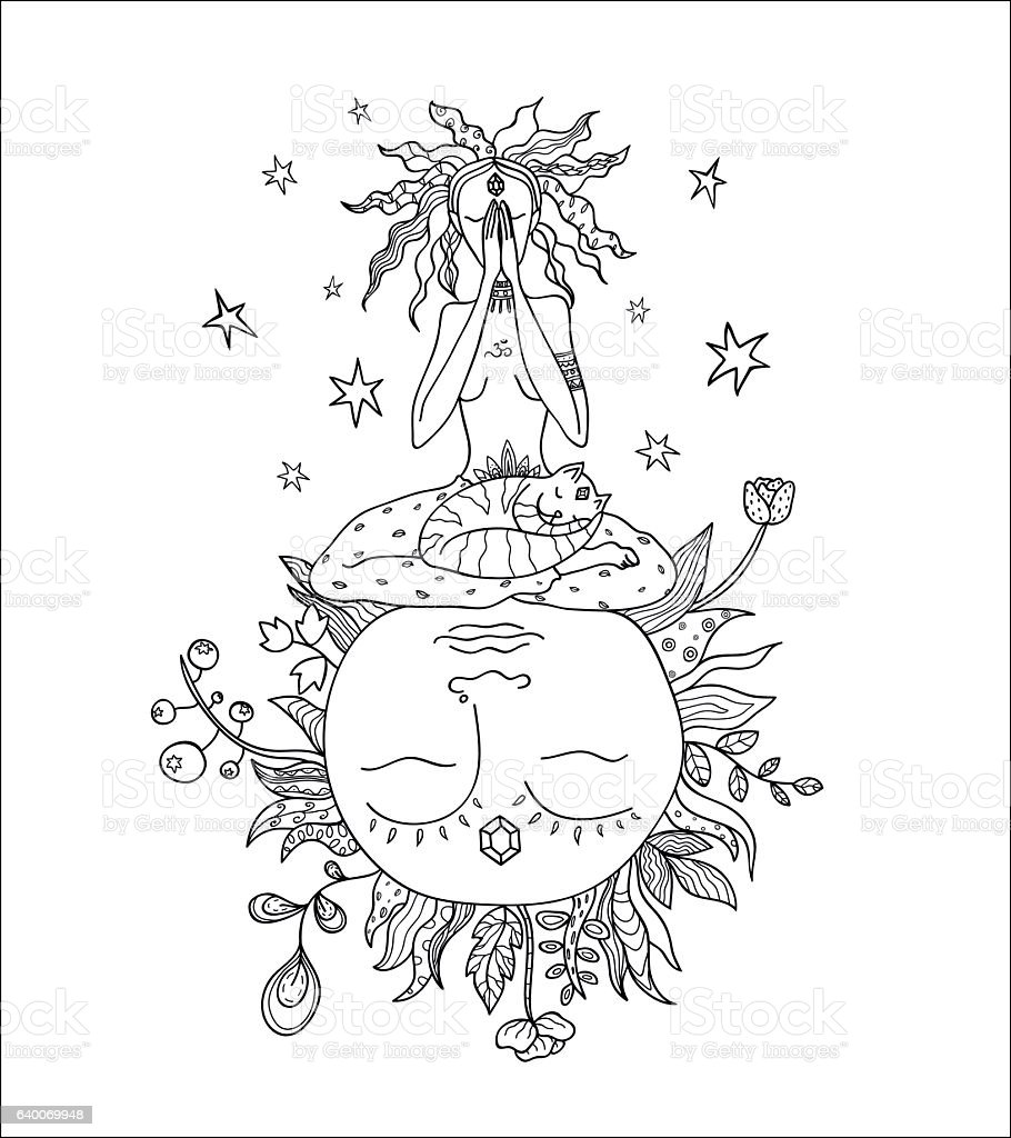 Girl meditating on flourishing Earth vector art illustration