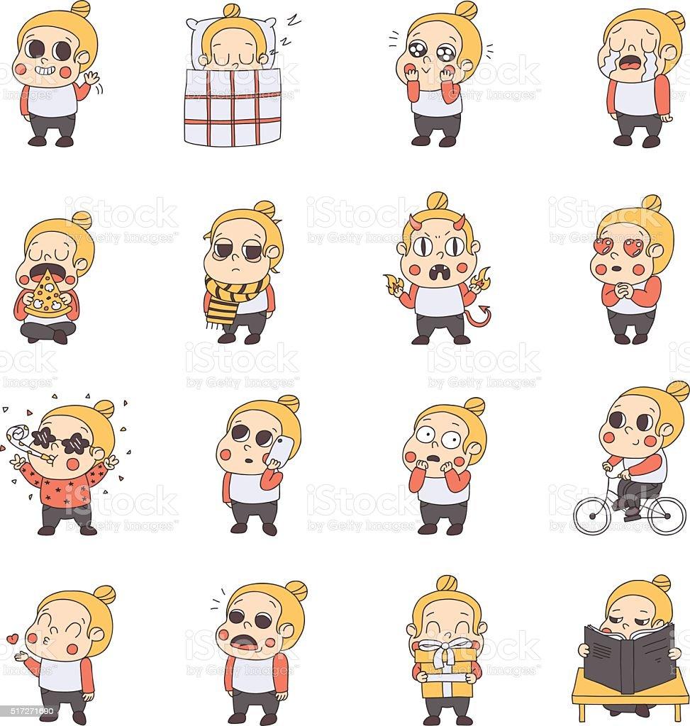 Girl multicolored stickers (emoji) vector set. Cute style. vector art illustration