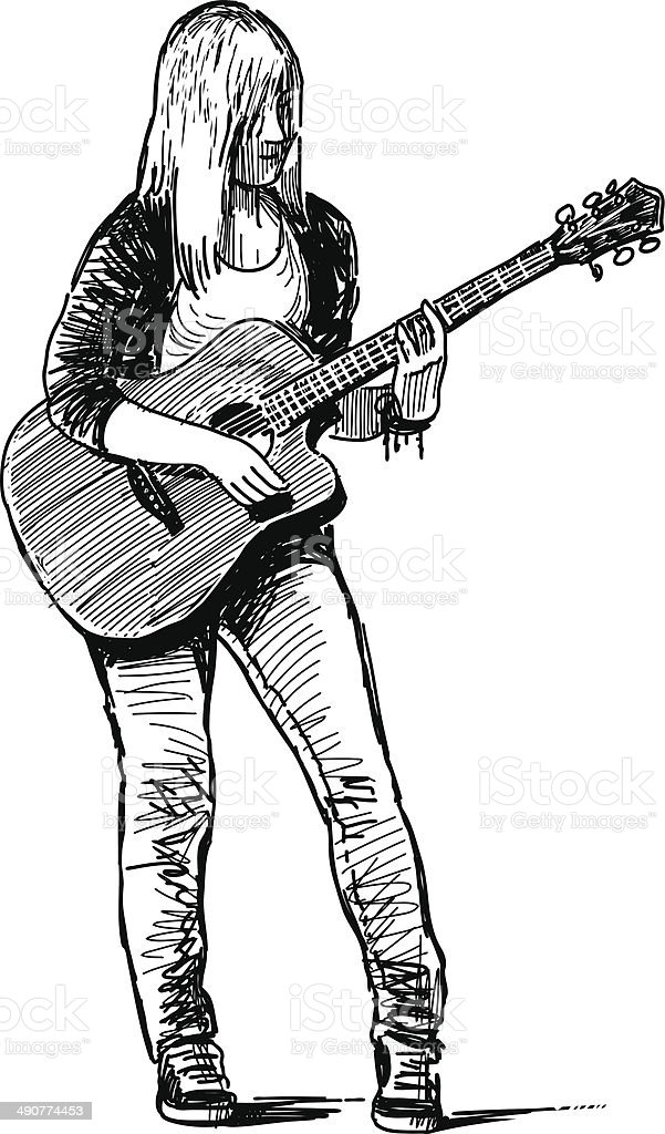 girl musician vector art illustration