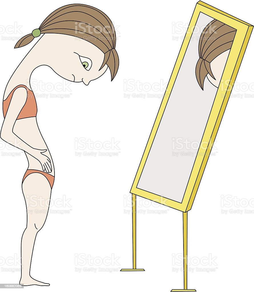 Girl near mirror royalty-free stock vector art