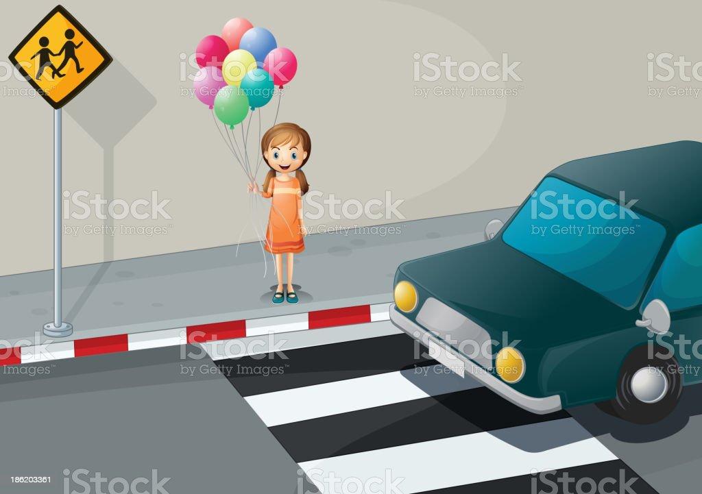 girl near the pedestrian lane holding balloons royalty-free stock vector art