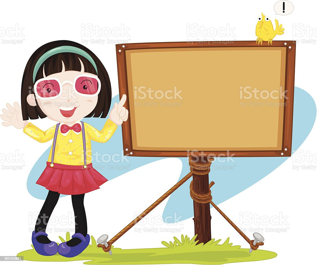 girl next to the sign royalty-free stock vector art
