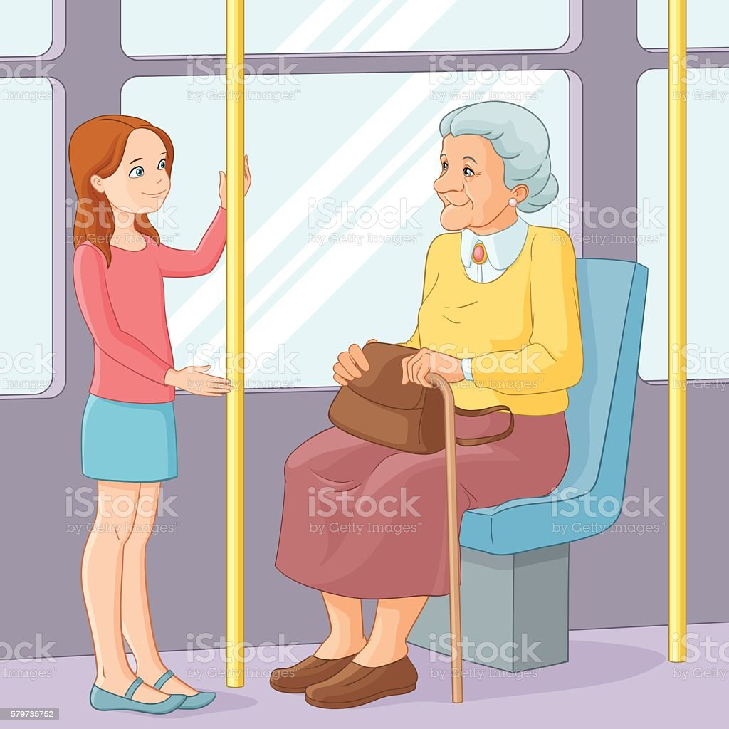 Girl offering seat to old lady in public transport vector art illustration