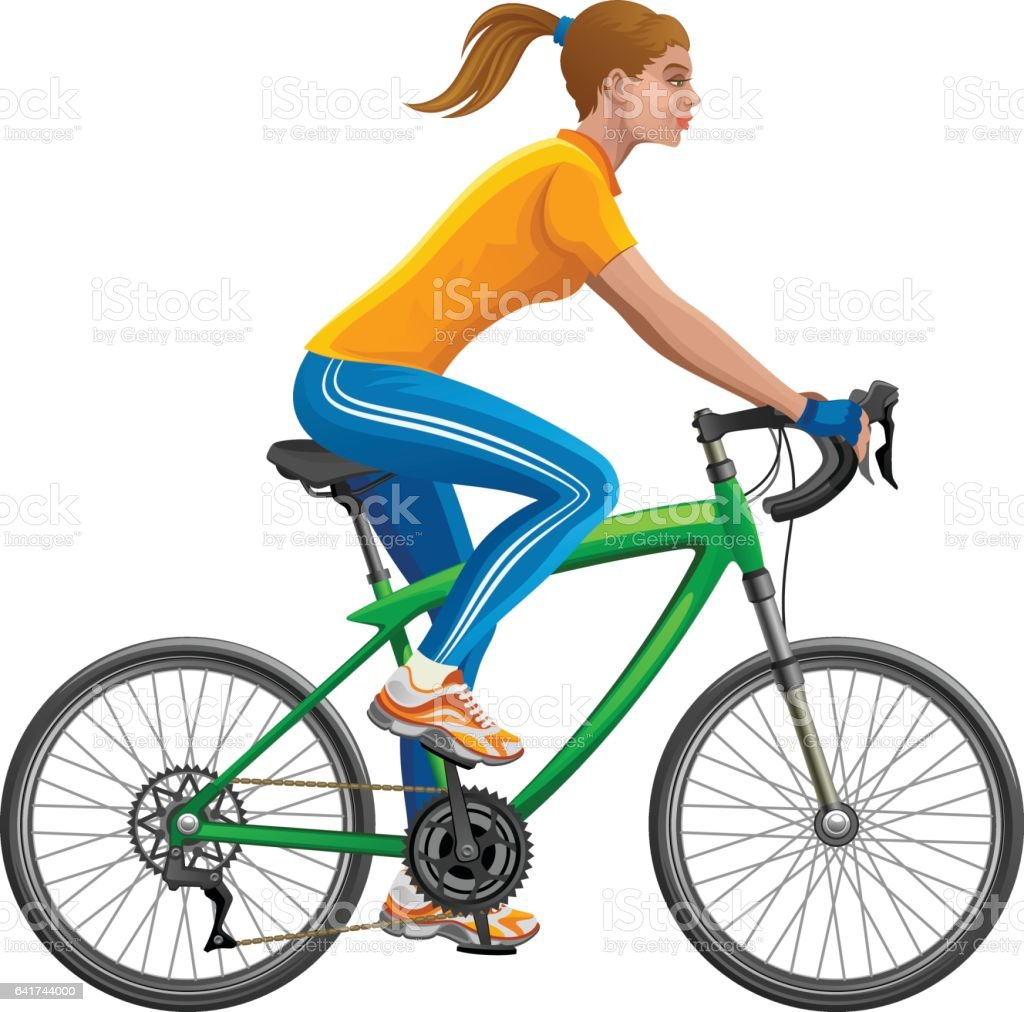 Girl on a bicycle vector art illustration