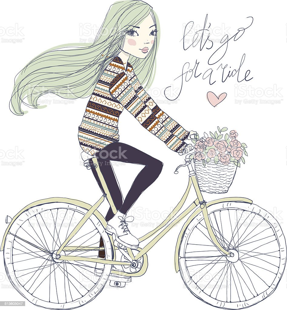 Girl on a bicycle with a basket of flowers royalty-free stock vector art
